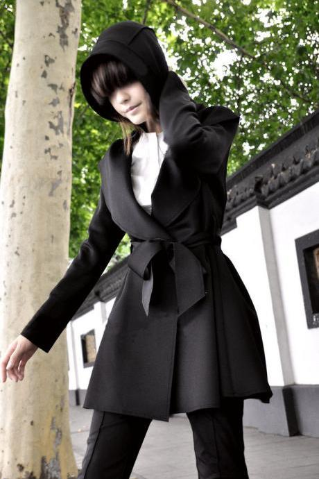 Black Hooded Trench Coat With Belt Z7EYWSTM4SCLBFI6ATHQX A40X9GKG9BF