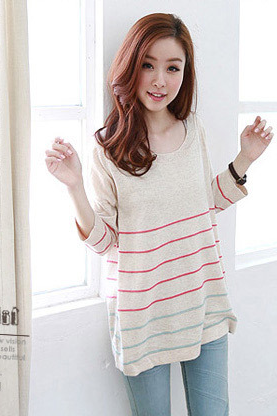 Cute Three Quarter Sleeve Round Collar Loose T-Shirt ZQCL9F2KQTR4YE0UW1B38 K0MFPEZ0KPK