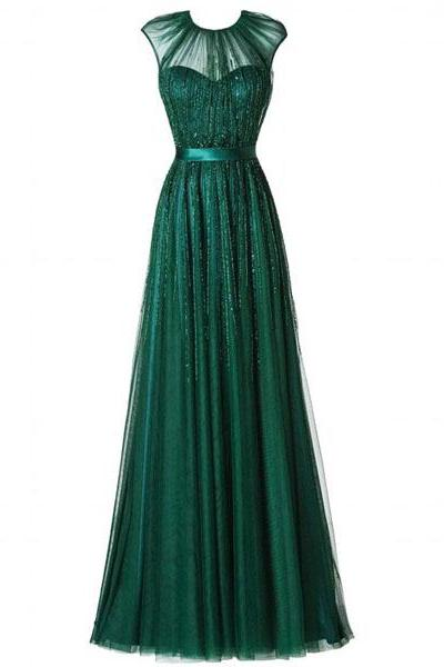long prom dress, green prom dress, modest prom dress, prom dress 2015, party prom dress, long evening dress, tulle prom dress, 14701