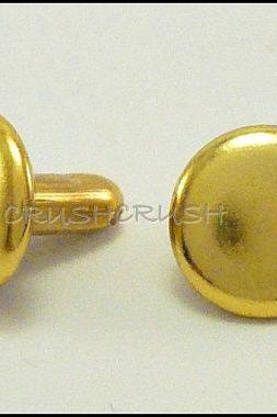 DOUBLE CAP -- 100pcs 7mm Gold Round Rivets Studs RV237B