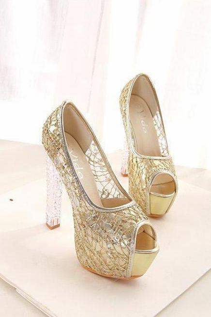 Elegant Crystal Heels Peep Toe Sandals With Gold Lace Details
