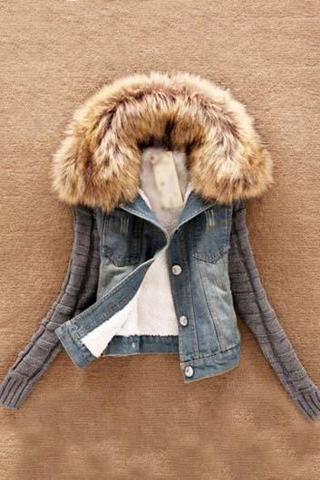 Hooded Faux Fur Design Patchwork Denim Coat