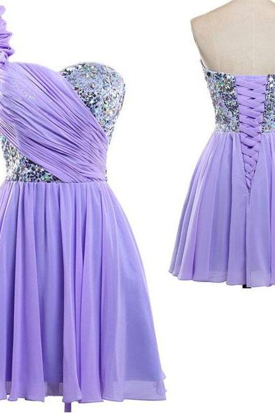 short purple bridesmaid dress, one shoulder bridesmaid dress, cheap bridesmaid dress, junior bridesmaid dress, homecoming dress, 14703