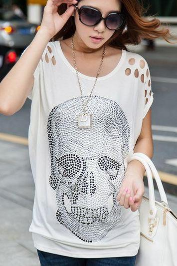 Skull Design White Loose T Shirt