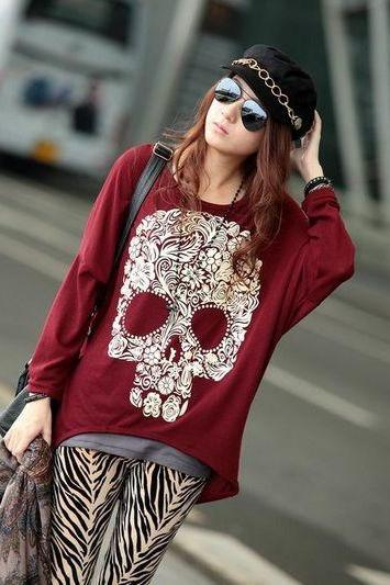 Skull Pattern Red Loose Shirt