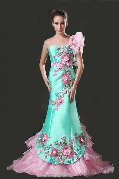 Chic Turquoise Pink Mermaid Women Formal Dress With Flowers One Shoulder 2 Tones Satin Organza Mermaid Evening Gown Custom Made