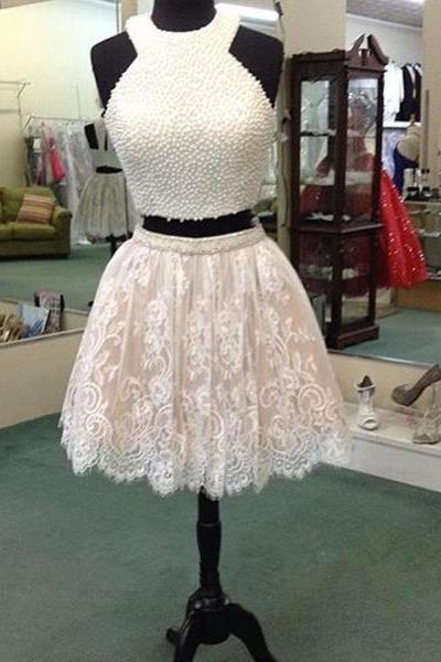 Trendy 2015 Pearl Beaded TopLace Mini lace Mini Homecoming Dress Party Dress