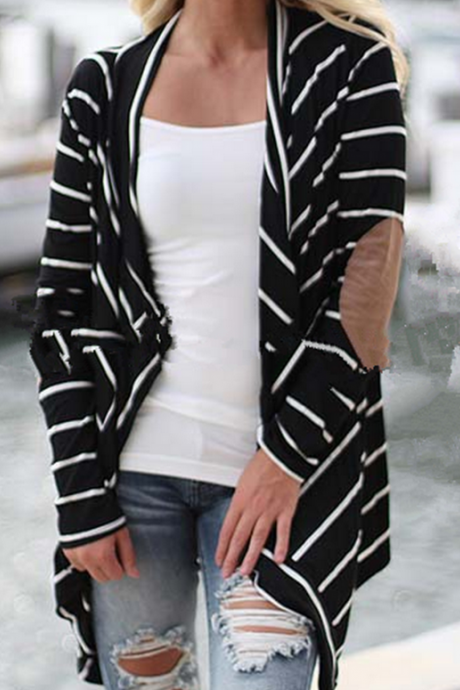 Fashion stripe loose cardigan coat 1180662