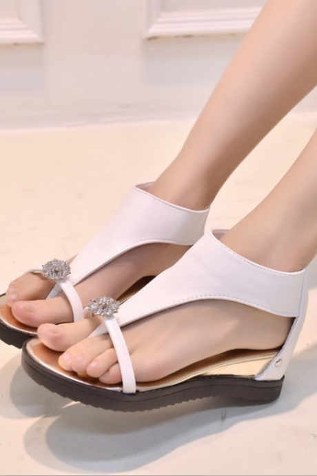 Fashionable gem diamond flat sandals 1608448