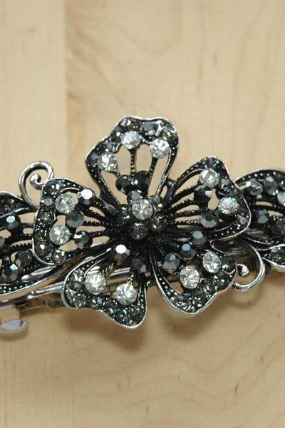 Grey White Rhinestone Flower Barrettes Hair Clips