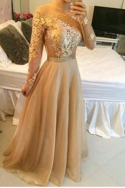 Ulass Appliques Gold Prom Dresses, Floor-Length Prom Dresses, Real Made Evening Dresses,Chiffon Backless Evening Dresses, Evening Dresses On Sale