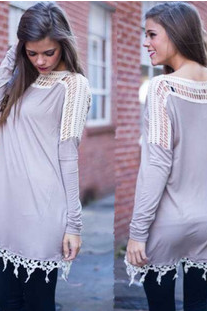 Joining together long sleeve hem lace dressTY