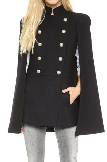 Fashion Black Stand Collar Cloak Design Coat
