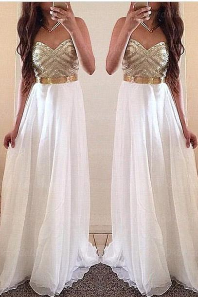 White Prom Dresses Custom Prom Dress Chiffon Prom Dresses Long Prom Dresses 2015 Prom Dresses Sexy Prom Dresses Dresses For Prom