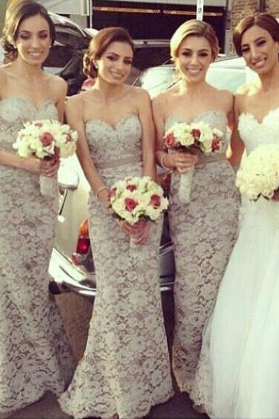 Designer Lace Sweetheart Sheath Mermaid/Trumpet Floor Length Bridesmaid Gown Lace Bridesmaid dresses