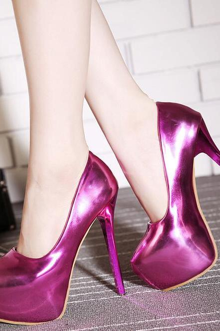 Women's Patent Leather Metallic Rounded-Toe Stiletto Pumps