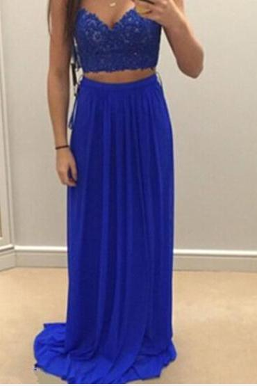 Charming Royal Blue Two Pieces Prom Dresses 2016, Two Piece Prom Dresses, Evening Gown, Formal Wear