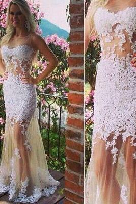 Sleeveless Prom Dress Elegant Women dress,Party dress ,lace Prom Dress L291