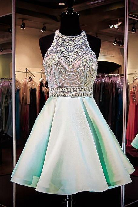 Mint Green Homecoming Dresses Chiffon Homecoming Dress Beaded Prom Dresses Halter Cocktail Dresses Sweet 16 Gowns 2015 Evening Gowns