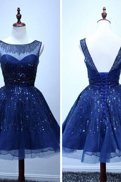Navy blue Homecoming Dress Short TULLE Homecoming Dress Short Beading Prom Dress Cheap Prom Dress Party Prom Dress Junior Prom Dress