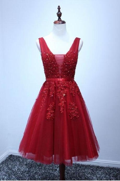 Homecoming Dress Short red Homecoming Dress Short Applique Prom Dress Cheap Prom Dress LACE Party Prom Dress PINK zipper Prom Dress