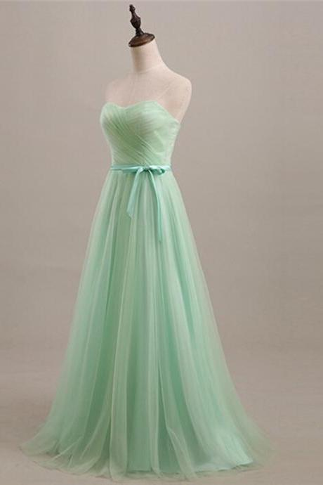 Long Mint Color Bridesmaid Dress A Line Sweetheart Neckline Tulle Women Wedding Party Dress Lace-up Closure Custom Made