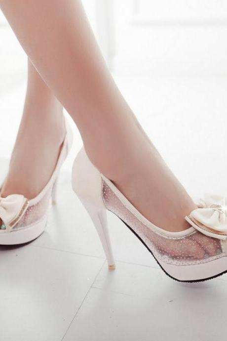 Beautiful Peep Toe Beige High Heel Sandals With Bow