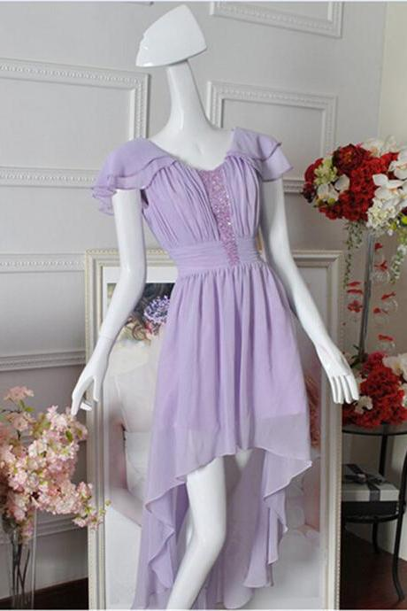Dipped Hem Lilac Bridesmaid Dress With Beads Cap Sleeves High Low Chiffon Women Wedding Party Dress Custom Made