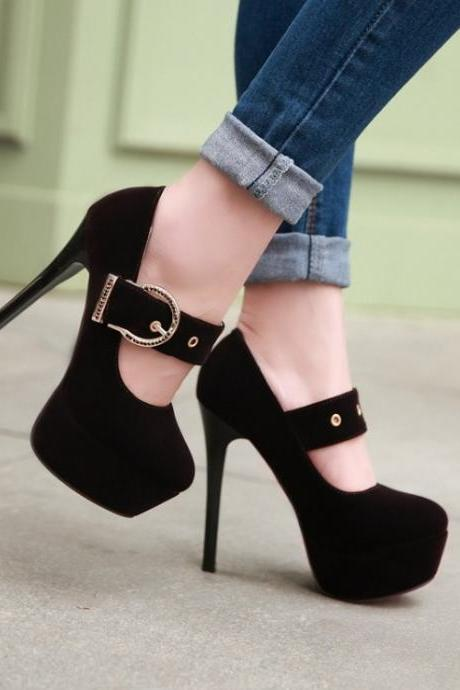 Chic Round Toe Dark Purple Ankle Strap High Heel Shoes