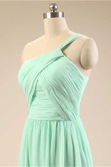 Long Mint Bridesmaid Dress One Shoulder A Line Pleated Chiffon Women Wedding Party Dress Formal Gown Custom Made