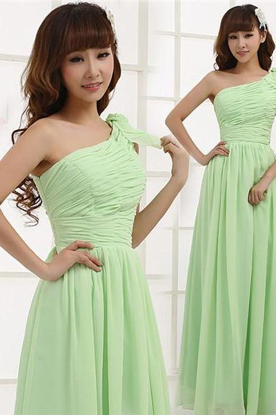 Long Mint Green Bridesmaid Dress One Shoulder A Line Pleated Chiffon Women Formal Gown For Weddings Custom Made