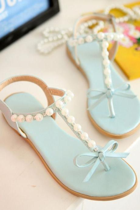 Adorable Pastel Blue Pearls And Bows T Strap Sandals