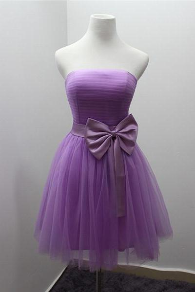 Short Purple Bridesmaid Dress With Bow Strapless Pleated Tulle Women Wedding Party Dress Semi Formal Dress Custom Made