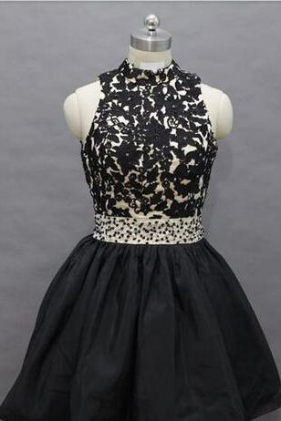 Short Prom Dresses, High Neck Prom Dresses, A-Line Prom Dresses, Black Short Prom Dresses, Evening Dresses, Party Dresses, Custom Prom Dresses