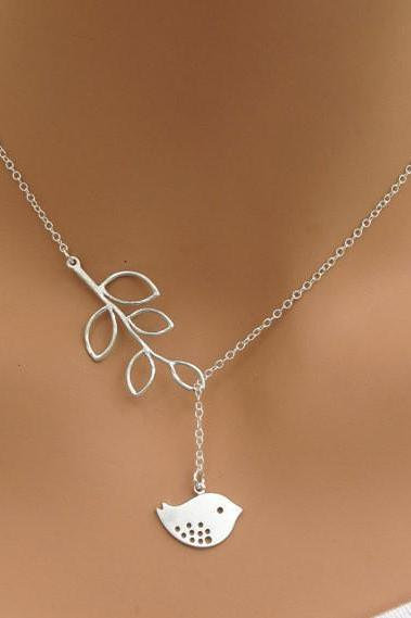LEAF AND BIRD NECKLACE QZ1027FG