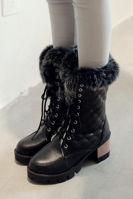 Women's Pure Color Cross strap platform shoes Chunky boots 7XXLEBWJAWN