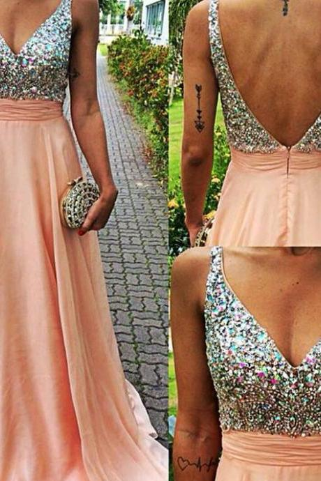 Hot Sale A-Line Pink Backless V Neck Long Prom Dresses,Off the Shoulder Open Back Beadings Prom Dress,Custom Made Blush Evening Gown Dress,Formal Women Prom Dress