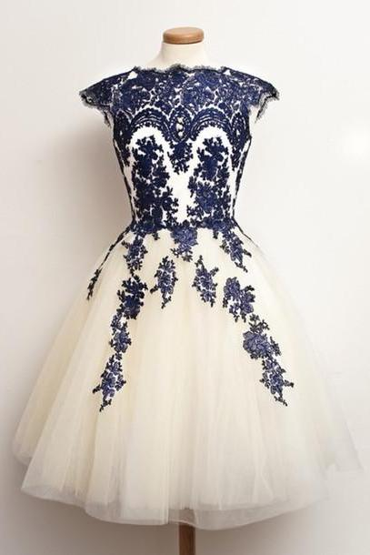 Custom Round Neck White And nevy Blue Short Lace Prom Dresses, Short Dresses For Prom