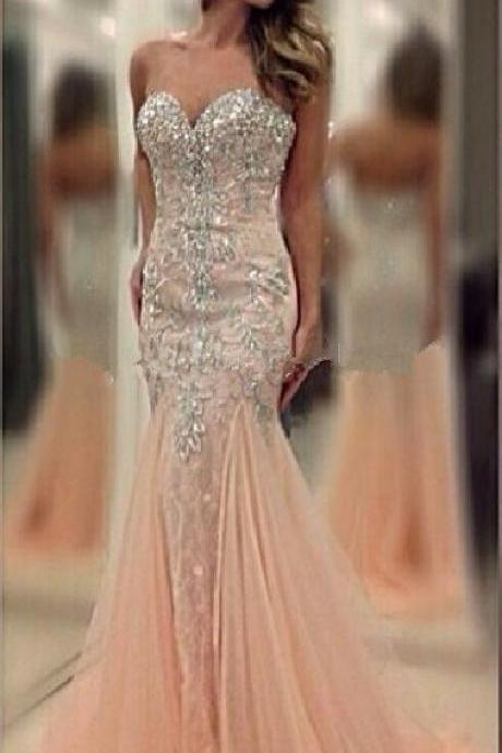 Romantic Long Mermaid Tulle Beaded Sweetheart Zipper Back 2015 Prom Dresses mermaid prom dress vestidos de fiesta party gowns