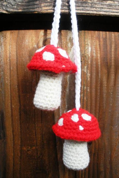 Plush Crochet Red Hanging Mushroom Toadstool Stuffies, Patchouli Scented, ready to ship.