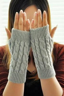 Women's Knitted Warm Short Fingerless Gloves for 2015 Winter