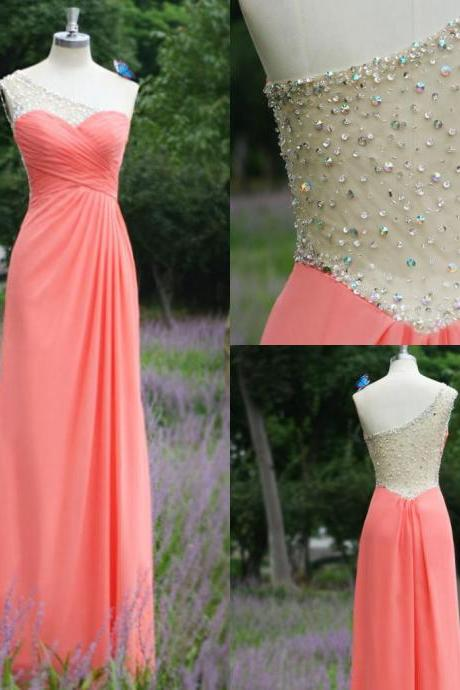 Real images charming sheer A line long chiffon prom dresses ,one shoulder sequin beads dresses 2016