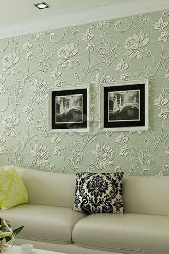 Non-woven Flocking Wallpaper Wall Paper Rolls 3D Floral Texture