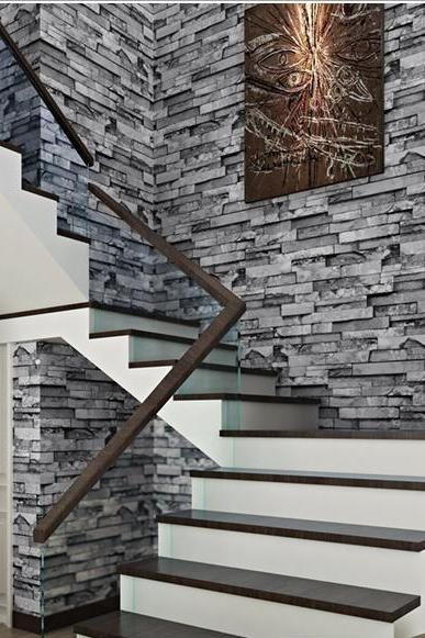 Real Look Stacked Brick/Stone Vinyl Background Wallpaper