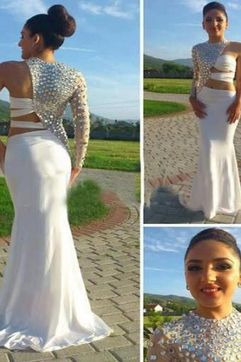 Custom Made One-Shoulder White Prom Dress,Beading Prom Dress,Chiffon Prom Dress, White Prom Dresses