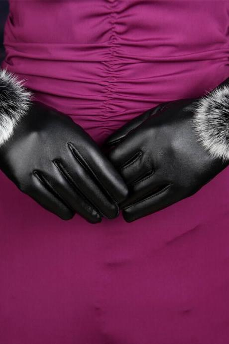 2015 winter Pu leather gloves for women