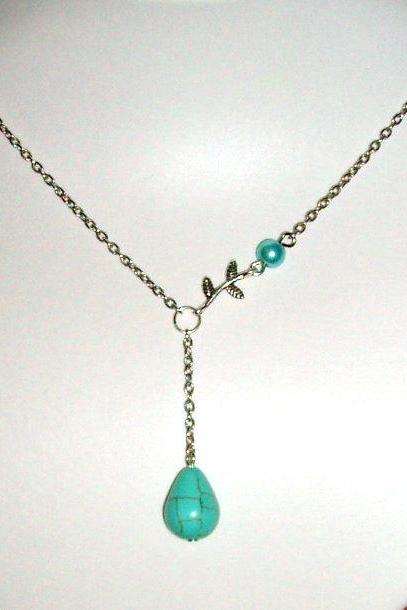 Branch leaaf and turquoise drop necklace