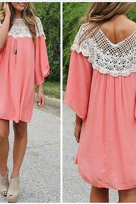 Women Chiffon 3/4 Sleeve Lace Hollow Out Blouses Cocktail Party Mini Short Dress