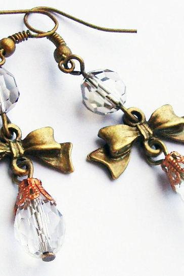 Dangle bronze crystal earrings