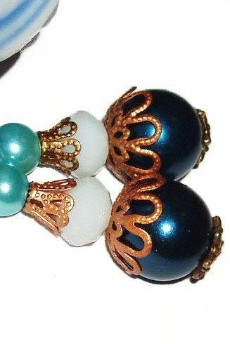 BUY 4 - GET 1 pair earrings FREE..Bronze glass pearl filigree earrings- vintage look-elegant comfortable -great gift